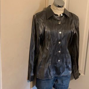 Impressions Tops - Shiny pewter button down size medium